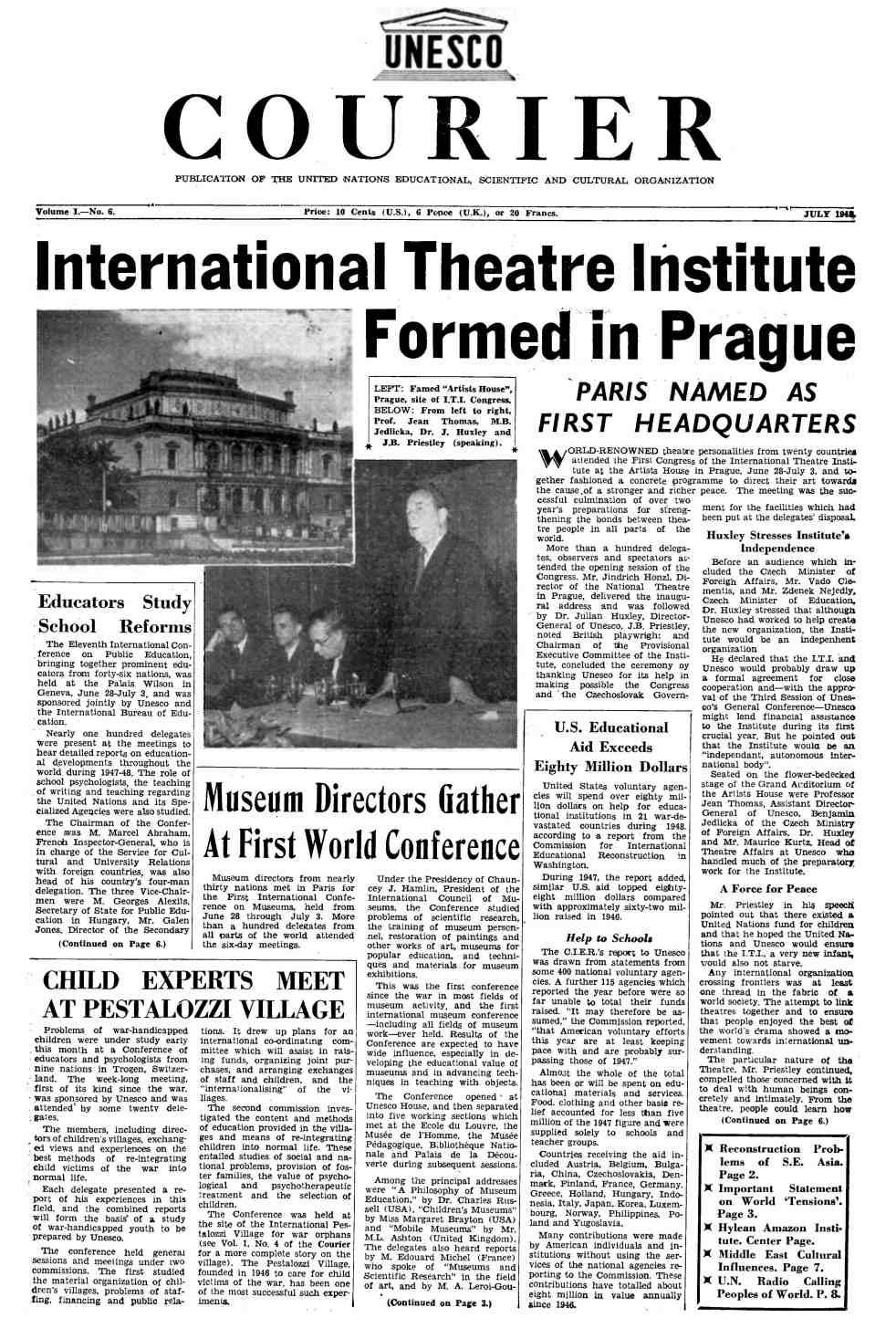 ITI Gründung auf der Titelseite des Courier July 1948, Vol I , No 6